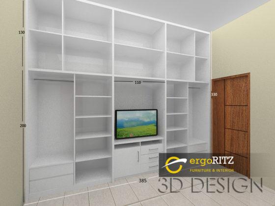 Desain 3D bagian dalam lemari