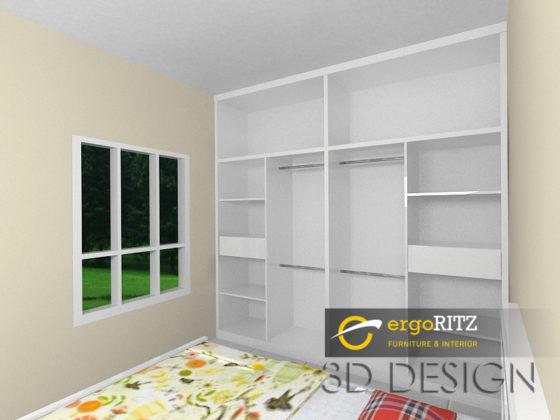 Desain 3D Lemari pakaian view dalam