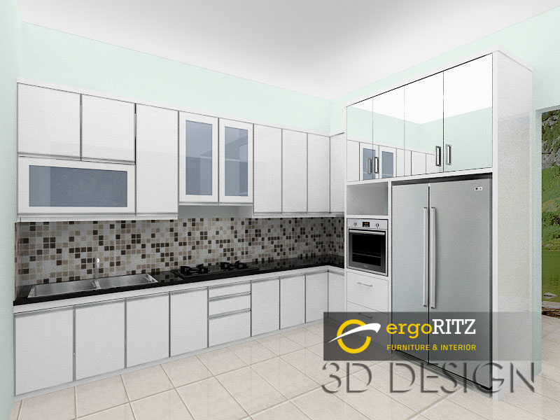 Kitchen Set Hpl Putih Glossy Komplek Pjmi Bintaro Ergoritz Furniture