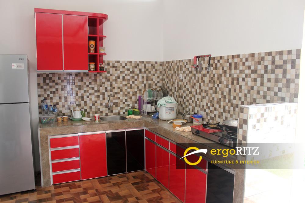 Kitchen Set Merah Glossy Jati Asih Kota Bekasi Ergoritz Furniture