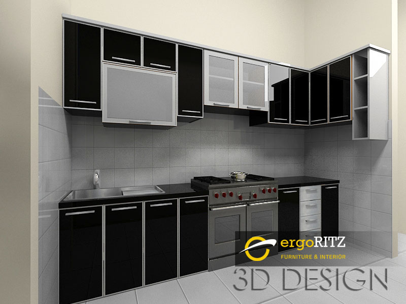 Kitchen Set Hitam Glossy Perumahan Vila Nusa Indah 3 Bogor